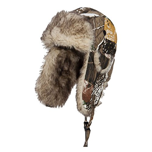 Camouflage Bomber Fur Trooper Hat - Snow OSFM