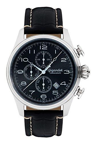 Gigandet Men's Quartz Watch Timeless Chronograph Analog Leather Strap Black G41-002