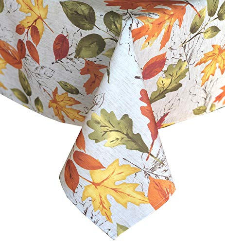 Newbridge Autumn Breeze Leaf Print Fabric Thanksgiving Tablecloth, Falling Leaves Floral Seasonal Tablecloth, 60 Inch x 102 Inch Oblong/Rectangle ()