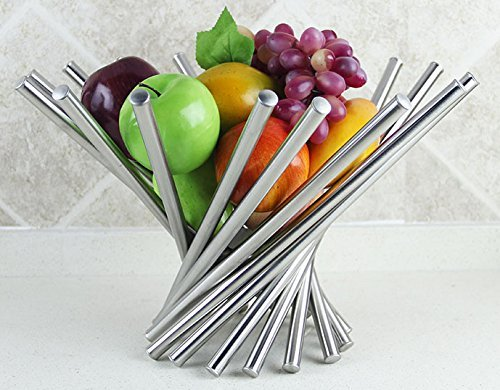 Large Product Image of Landtom® Creative Stainless Steel Rotation Fruit Bowl/Fruit Basket/Fruit Stand/Fruit Holder with Free Orange Peeler, Silver