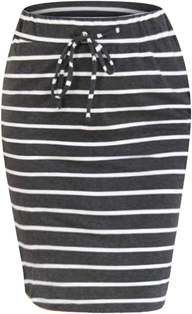 Women/'s Pencil Skirt with Drawstring Knee Length Soft Straight Skirt Daily Dresses Stretch Midi-Skirts for Ladies Bandage High Waist Casual Striped Skirt Lonshell