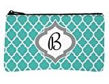 Trendy Teal Moroccan Monogram Design Multi-Purpose Small Zippered Stitch Pouch