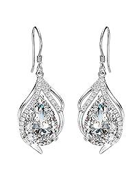 EleQueen 925 Sterling Silver Cubic Zirconia Teardrop of Angel Bridal Jewelry