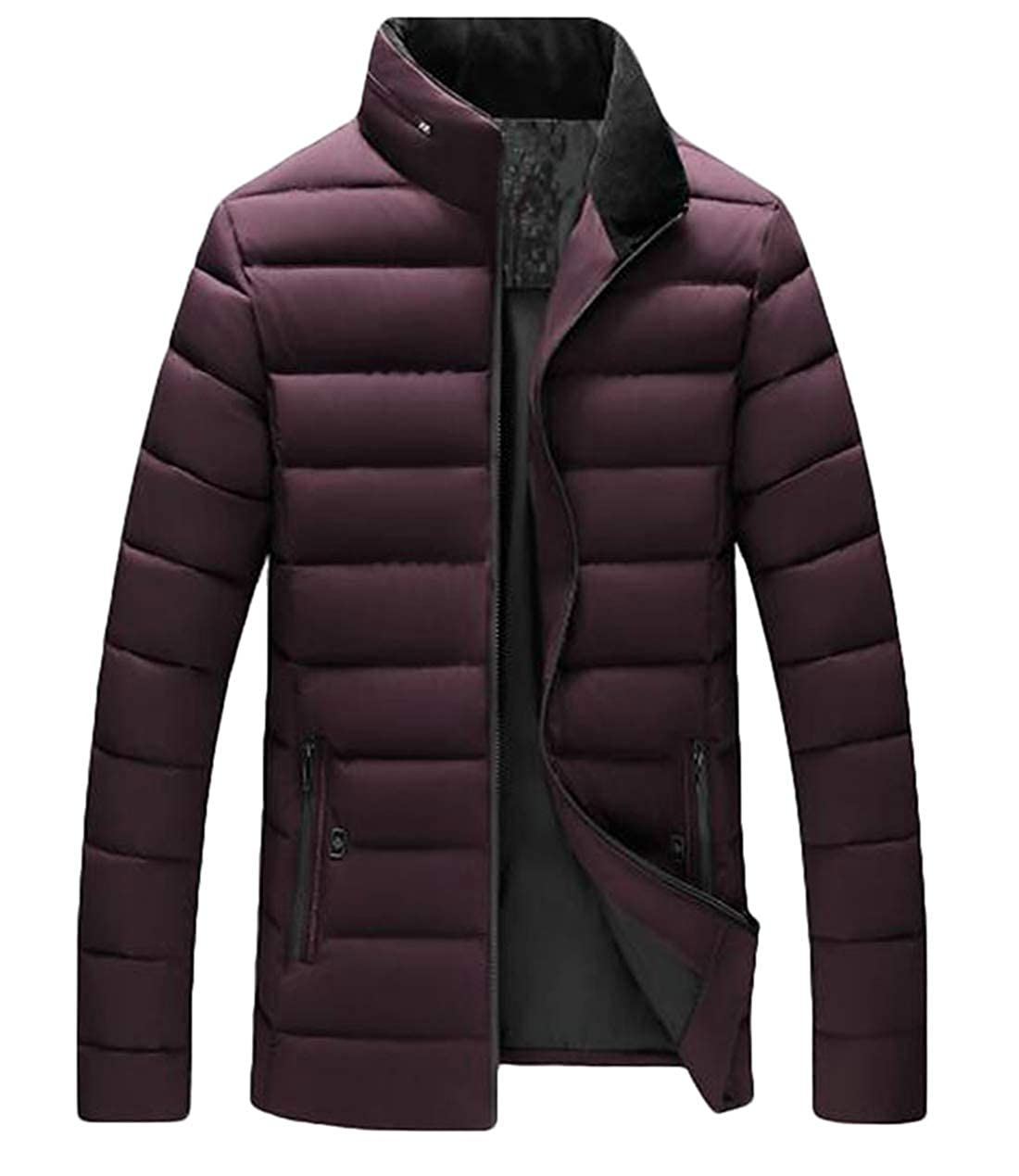 Fllay Mens Lightweight Thicken Winter Stand Collar Warm Quilted Padded Puffer Jacket
