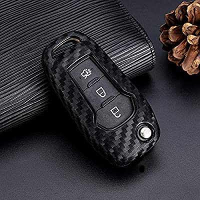 Royalfox(TM 2/3 Buttons flip Remote Key Fob case Cover for 2015 2016 2020 2020 Ford F150 F250,Focus 3 Escort Kuga Everest Fiesta Mustang Edge MKV Fusion 2016 Ranger (Silicone Carbon Fiber): Automotive