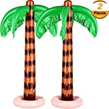 TecUnite 2 Pack Inflatable Palm Trees Jumbo Coconut Trees Beach Backdrop Favor for Hawaiian Luau Party Decoration