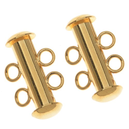 22K Gold Plated Tube Clasp 16.5mm Two Rings Strands (4)