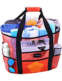 Mesh Beach Bags and Totes, AOMAIS MAX Capacity 30L/150lbs Durable Toy Tote Bag with Removable Strap& 8 Extra Pockets& Inside Pocket for Beach, Picnic (Orange)