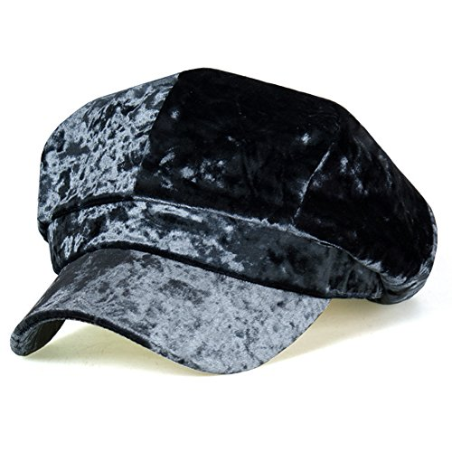 Mr Li Women's Velvet Beret Cap Winter Warm 8 Panel newsboy Hat (Dark Gray)
