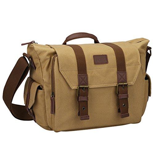 S-ZONE Large Canvas SLR DSLR Camera Shoulder Messenger Bag for Digital Cameras, Laptops, Tripod and other Accessories