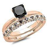 1.50 Carat (ctw) 14K Rose Gold Princess Cut Black & Round White Diamond Ladies Bridal Solitaire Engagement Ring With Matching Millgrain Wedding Band Set 1 1/2 CT (Size 7)