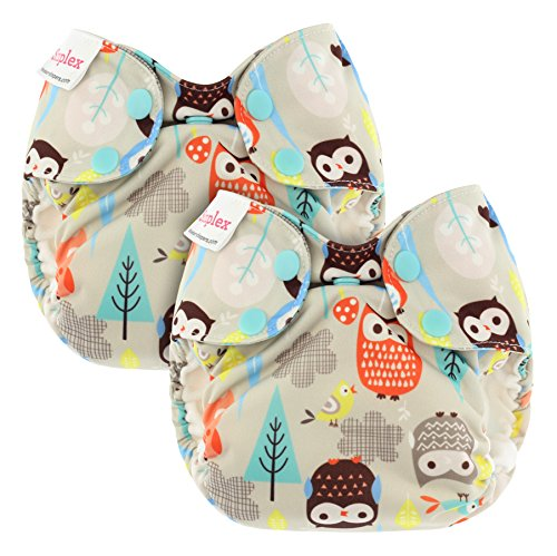 Blueberry Organic Newborn Simplex All in One Cloth Diapers, Bundle of 2, Made in USA (Owls)