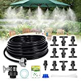 """HIRALIY DIY Misting System Outdoor Misting Cooling System 32.8FT (10M) Misting Line+10 Mist Nozzles+3/4"""" Metal Threaded Adapter for Patio Garden Greenhouse Umbrellas Trampoline"""