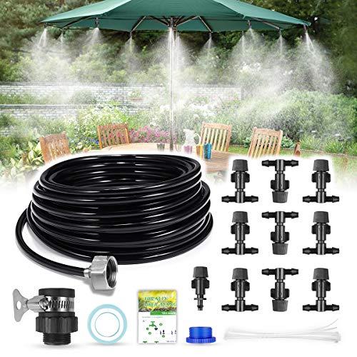 (HIRALIY DIY Misting System Outdoor Misting Cooling System 32.8FT (10M) Misting Line+10 Mist Nozzles+3/4