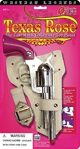 Cowgirl Set - Cowboy Cowgirl Metal Replica Revolver Pistol Texas Rose Pink Toy Cap Gun Holster