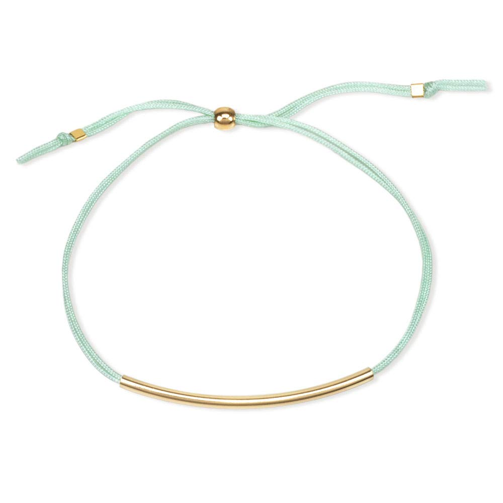 Dogeared Balance Gold Filled Tube Bar On Mint Green Silk Adjustable Bracelet Dogeared Jewels & Gifts VGB1217