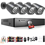 Rraycom 4Channel 1080H DVR 2000TVL 720P HD Outdoor Home Security Surveillance Camera System with 1TB Hard Drive