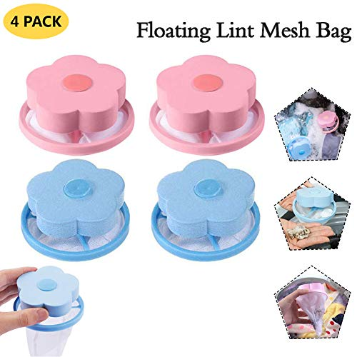 Reusable Flower-Type Washing Machine Floating Lint Mesh Bag - Hair Filter Net Pouch Laundry Filter Bag Blue&Pink 4 Pack