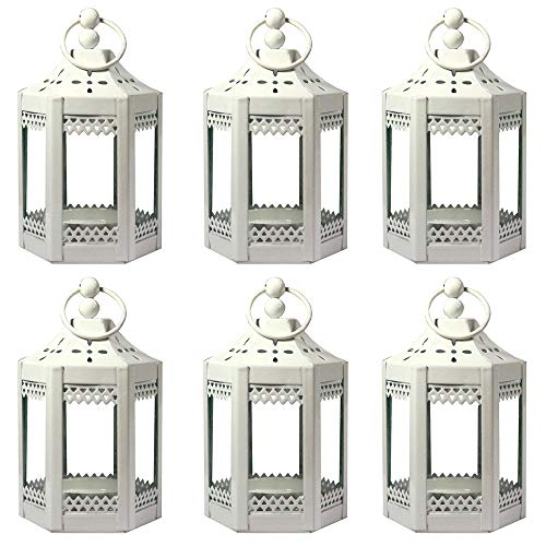 (Vela Lanterns 6pc 4.5 Inch Metal Tealight Mini Candle Lantern,)