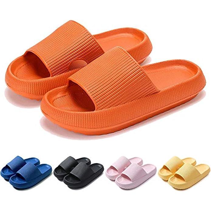 Fuupnn Pillow Slides Slippers, Non-Slip Quick Drying Outdoor Indoor Sandals Slides for Women Men,4cm Thick Sole Super Soft Massage Shower Bathroom House Beach Pool Womens Mens Platform Shoes
