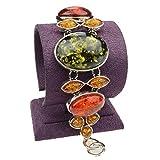 Bangle Bracelet SUMAJU Link Bracelets Green Oval Amber Gemstone Bowknot Silver Plated