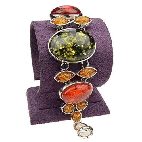 Bangle Tibetan Silver (SUMAJU Bangle Bracelet, Exquisite Link Bracelets Green Oval Aritifical Amber Bowknot)