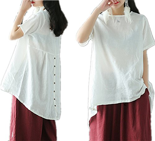 YESNO E43 Women Loose Tops Blouse Peplum 100% Linen Casual Gathered 'A' Skirt Buttoned on Back Asymmetrical Hemline