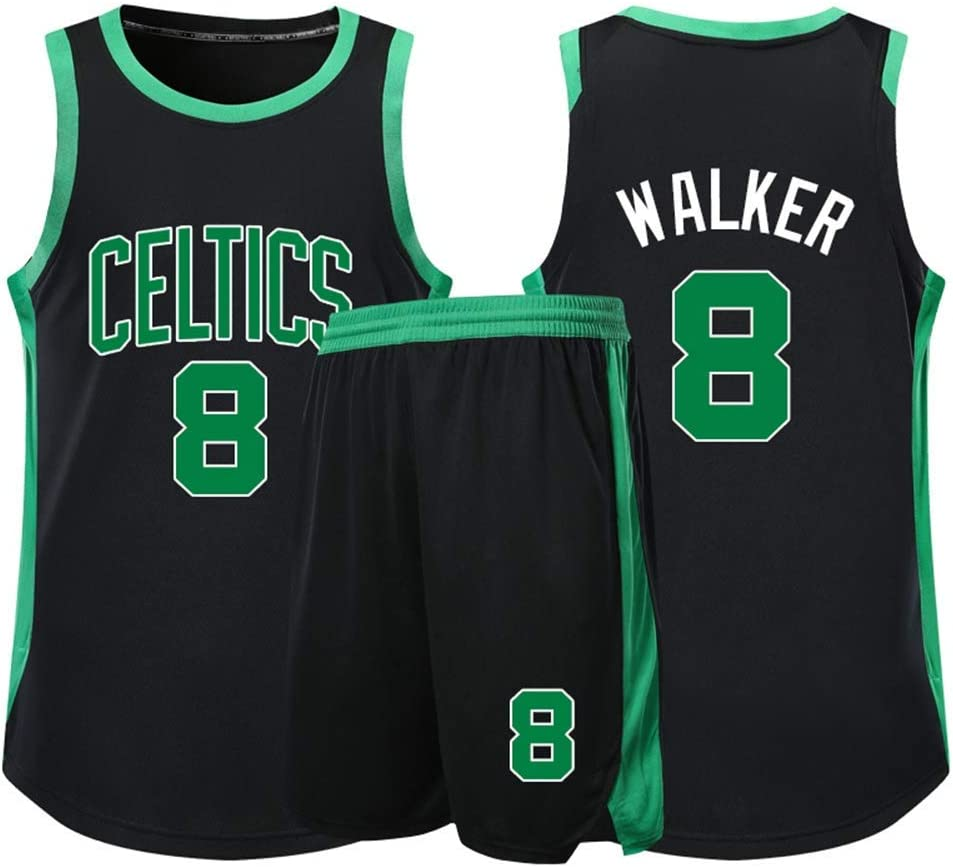NBA Boston Celtics # 8 Kemba Walker Adultos Unisex Ni/ños Transpirable Baloncesto Ropa Deportiva Set,Verde,2XS:136~144CM XSJY Jerseys Conjunto De Baloncesto De Los Hombres