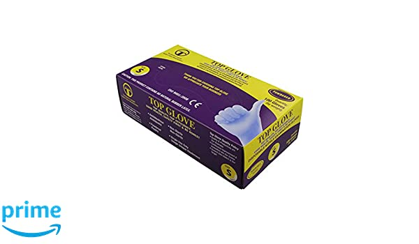 Guantes de nitrilo desechables en polvo azul - AQL 1.5 - Caja de 100 (pequeños): Amazon.es: Amazon.es