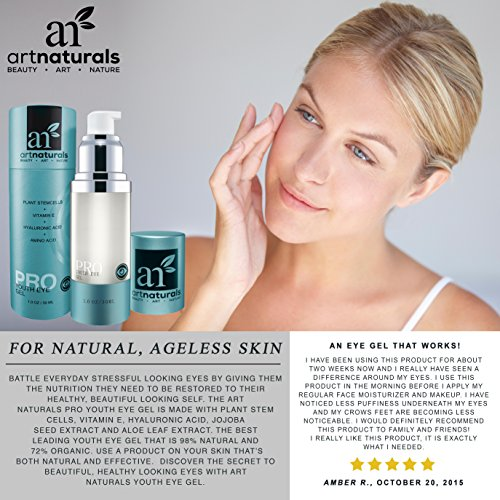 Art Naturals Eye Wrinkle Cream - 1 oz Anti Anging Gel Natural Treatment, Good for Dark Circles, Under Eye Bags, Fine Line & Redness Reducer - Organic Aloe, Hyaluronic Acid & More - For Men & Women
