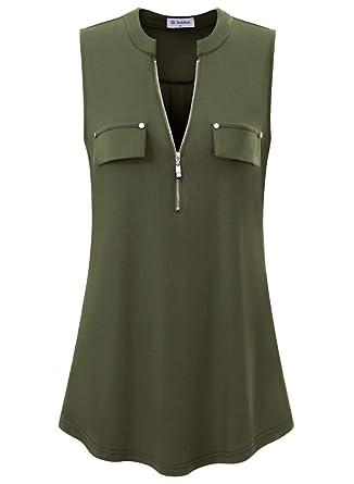 9ab3ee29530615 Bulotus Women Sleeveless Tunic Zip Up V Neck Tank Tops (Small, Army Green)