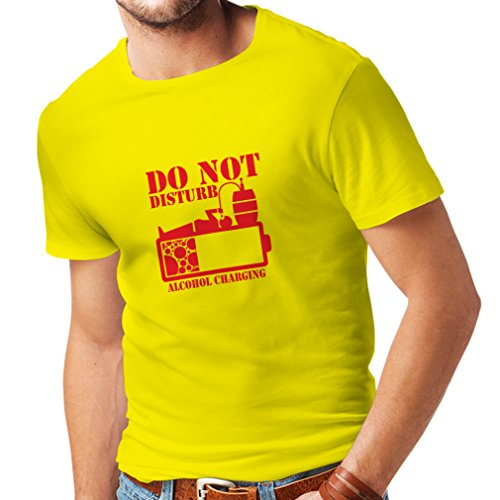 lepni.me N4221 T Shirts for Men Alchohol Charging (Large Yellow Red)