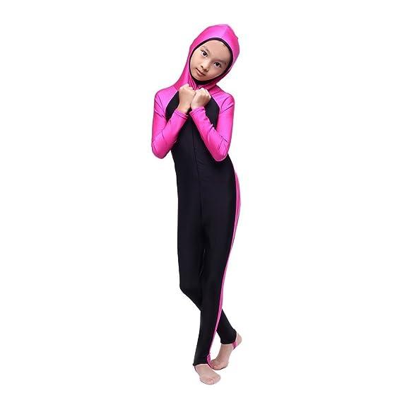 b98a910aa5 FXFAN Muslim Hui Girl Traditional Fashion Girl Swimwear Conservative 3  Piece Split SwimsuitZHANGM: Amazon.co.uk: Sports & Outdoors