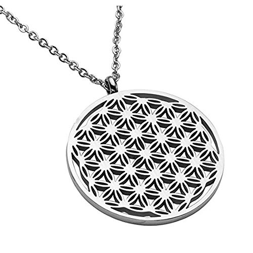 ATDMEI Flower of Life Pendant Necklace for Women Men Stainless Steel Vintge Gothic Jewelry Gifts