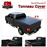 VioletLisa 5ft Bed Black Vinyl Clamp On Soft Lock & Roll-up Top Mount Tonneau Cover Assembly w/Rails+Mounting Hardware for 05-19 Nissan Frontier Crew Cab & 09-12 Suzuki Equator Pickup