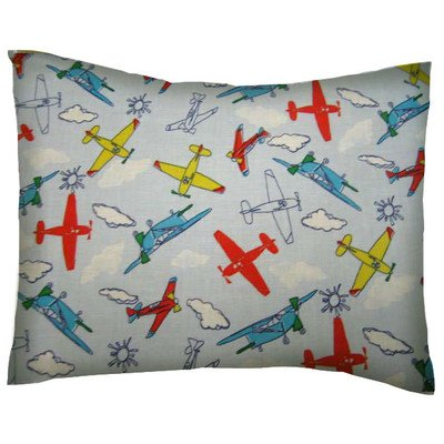 SheetWorld Crib / Toddler Percale Baby Pillow Case - Kiddie Airplanes - Made In USA (Houston Crib)