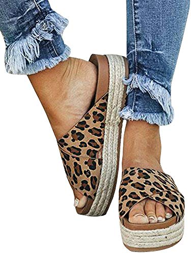 (LAICIGO Women's Open Toe Slip-On Crisscross Strappy Sequin Espadrille Flatform Slide Sandal)
