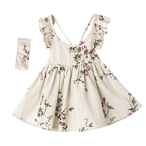 May zhang Children Sleeveless Cotton Dress, Girls Countryside overalls Flower Print for Summer (Beige, 2T) by May zhang