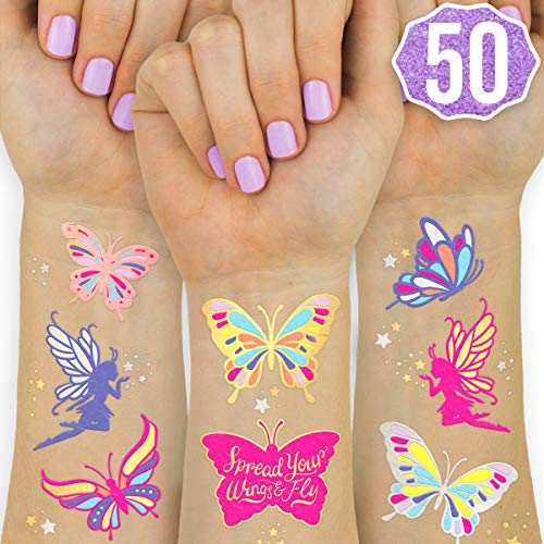 xo, Fetti Butterfly Tattoos for Kids - 50 Glitter styles | Birthday Party Supplies, Butterfly Party Favors + Fairy Decor ()