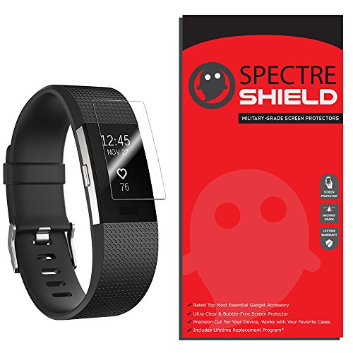 [8-PACK] Fitbit Charge 2 Screen Protector by Spectre Shield Full Coverage Invisible HD Clear Anti-Bubble Anti-Scratch - Spectre Glasses