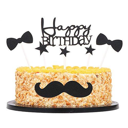 QIYNAO - Corbata para tartas de cumpleaños, diseño de lazo y estrella de cinco puntas, decoración para fiestas, juego de 7