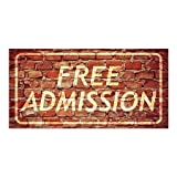 CGSignLab | ''Free Admission -Ghost Aged Brick'' Repositionable Opaque White 1st Surface Static-Cling Non-Adhesive Window Decal (5-Pack) | 24''x12''