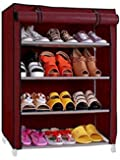 "Aysis Multipurpose Portable Folding Shoes Rack 4""//6"" Tiers Multi-Purpose Shoe Storage Organizer Cabinet Tower with Iron and Nonwoven Fabric with Zippered Dustproof Cover (Maroon-4-Layer)"