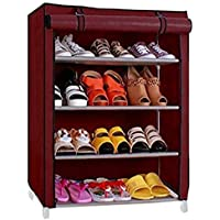 Aysis Multipurpose Portable Folding Shoes Rack 4 Tiers Multi-Purpose Shoe Storage Organizer Cabinet Tower with Iron and Nonwoven Fabric with Zippered Dustproof Cover (Maroon)