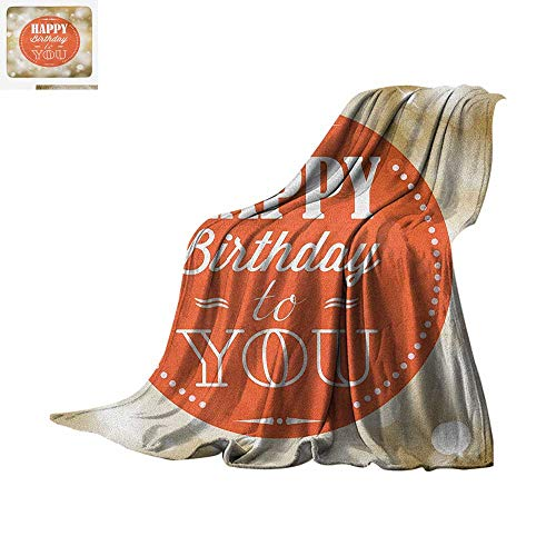- Birthday Throw Blanket Stamp with Retro Letters Celebratory Message Bokeh Background Artwork Print Warm Microfiber All Season Blanket for Bed or Couch 60