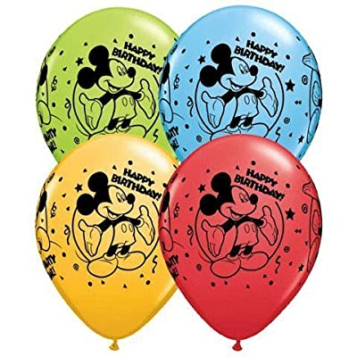 "Mickey Mouse Happy Birthday 11"" Latex Balloons 25~count: Toys & Games"