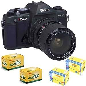 Vivitar V3800N 35mm SLR Camera w/ 28-70mm Lens Plus Kodak Tri-X 400 TX 135-36 Black & White Film and 35mm Print Film Gold 400 135-36 (IMP) Bundle