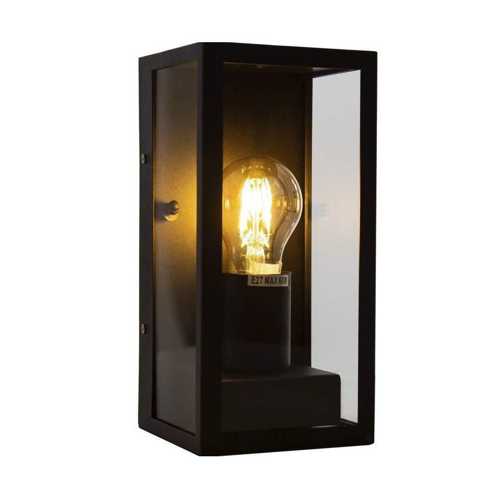 TrAdE shop www.tradeshopitalia.con - Porta Lampada Esterno Vetro VT8517 Nero Matto E27 IP44 Retro Illuminazione