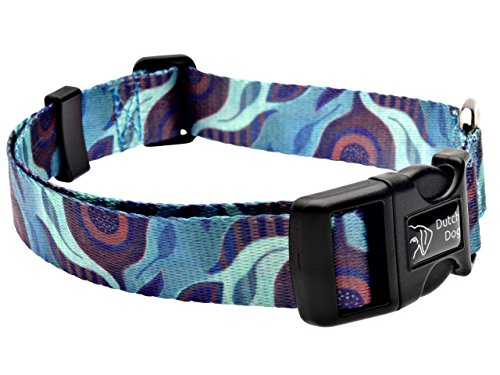 Dutch Dog Amsterdam Fashion Dog Collar, 20 to 25-Inch, Aqua Flora
