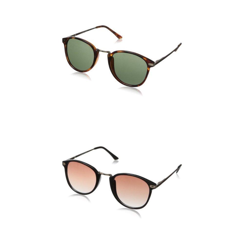 A.J. Morgan Castro Round Sunglasses - Two-Pack (Tortoise & Black)